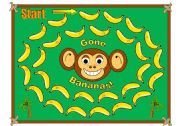 English Worksheets: Monkey with Bananas Gameboard (with Tokens and Black and White Version of the Board, Matching Cards Available in Another File)