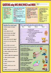 English Worksheet: Questions using What,which,who and when