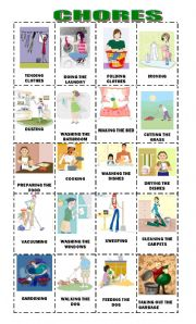 English Worksheets: Chores in the house Present Progressive Flashcards