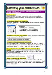 English Worksheet: 8-PAGE TUTORIAL: HOW TO DESIGN ATTRACTIVE WORKSHEETS & REDUCE FILE SIZE