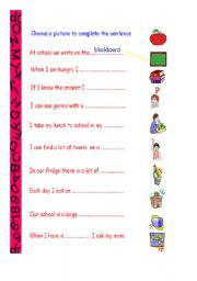 English Worksheets: look, think and write