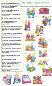 English Worksheets:  Daily routine, Activities Chores and Days of the Week. Reading and Match