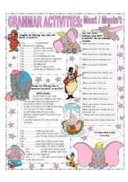 English Worksheet: MUST - MUSTN´T
