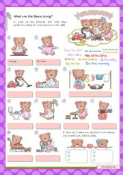 HOUSEWORK  (2/3)  -  What are the Bears doing?  Basic Household chores for Elementary Students