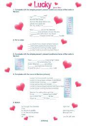 English Worksheets: Lucky by Jason Mraz