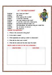 English Worksheets: At the reastaurant