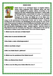 Robin Hood Reading and WH questions, Match - ESL worksheet by ilona
