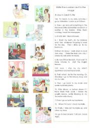 English Worksheets: A day in Sarah�s life   Daily Routines