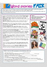 English Worksheets: Word stories: FAIR