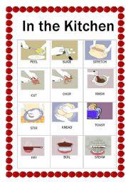 English Worksheet: Kitchen verbs flashcards