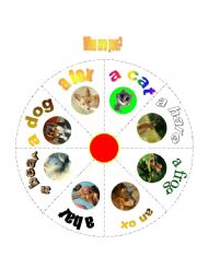 English Worksheet: animal wheel with 20 games to go with!