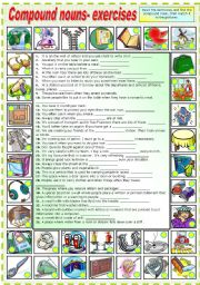 English Worksheets: COMPOUND NOUNS -EXERCISES (B&W VERSION INCLUDED)
