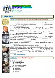 English Worksheet: Make Peace. Non-Violence. Dr Matin Luther King Jr. (Author-Bouabdellah)