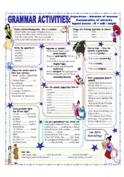 English Worksheet: ADJECTIVES & ADVERBS - COMPARATIVE FORM OF ADVERBS - INTERMEDIATE and UPPER