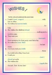 English Worksheet: WISHES !