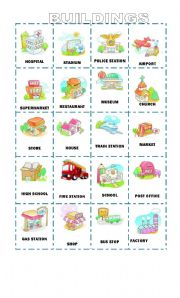 English Worksheet: 20 Buildings in the city Flashcards