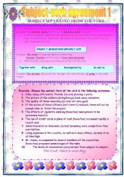 English Worksheet: Subject verb agreement 1