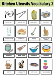English Worksheet: Kitchen Utensils - Vocabulary -  2� and last part -  Pictionary