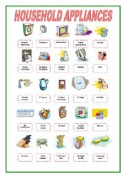 English Worksheets: Household Appliances Pictionary 1/2