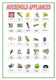 English Worksheets: Household Appliances Pictionary 2/2