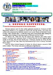 English Worksheet: No Man Is An Island. Song - We Are The World / USA for Africa. (Author-Bouabdellah)