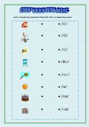 Worksheets Diphthong Worksheets english teaching worksheets diphthongs phonetics diphthongs
