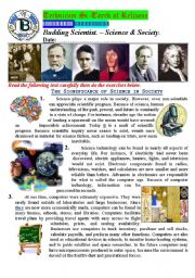 English Worksheet: Budding Scientist. The Significance of Science in Society. (Author-Bouabdellah)