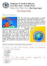 English Worksheets: Waste Not Want Not - The Ozone Hole. (Author-Bouabdellah)