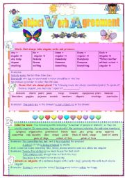 English Worksheets: subject verb agreement 2