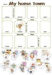 English Worksheet: Pair work cut and paste using places in town.