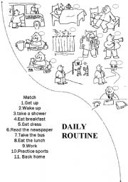 English Worksheets: Daily Routine Match