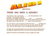 English Worksheet: Alibi Gamesheet