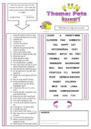 English Worksheet: Fun Sheet Theme: Pets