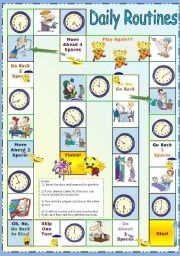 English Worksheet: Daily Routines - Time