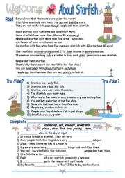 English Worksheets: Sea animals : About Starfish  / 5th-6th grade    ( 2 pages)