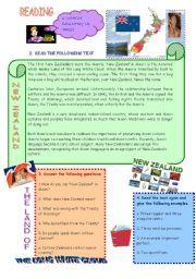 English Worksheet: ENGLISH SPEAKING COUNTRIES: NEW ZEALAND