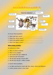 English Worksheet: MADAGASCAR 2!