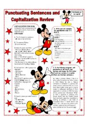 English Worksheets: PUNCTUATING SENTENCES AND CAPITALIZATION REVIEW