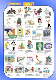 English Worksheet: MONEY - at work: nouns  PICTIONARY