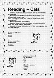 English Worksheets: Reading- Cats