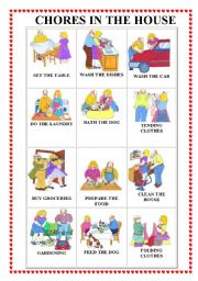 English Worksheet: CHORES IN THE HOUSE FLASHCARDS