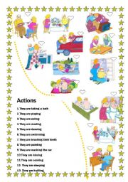 English Worksheets: Match the actions
