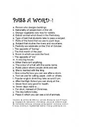English Worksheets: GAME: PASS A WORD