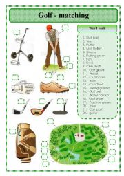 English Worksheet: Golf - matching