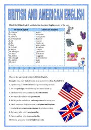 English Worksheets: BRITISH AND AMERICAN ENGLISH