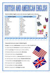 English Worksheet: BRITISH AND AMERICAN ENGLISH
