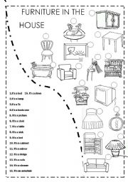 ESL worksheets for beginners: FURNITURE IN THE HOUSE | furniture exercises esl