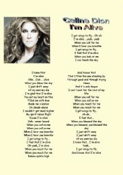 English Worksheet: Song : Celine Dion  I�m Alive