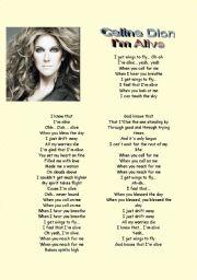 English Worksheets: Song : Celine Dion  I�m Alive