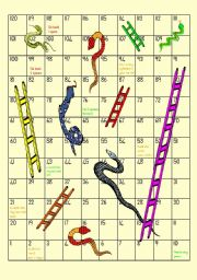 English Worksheet: Snakes and Ladders - Game